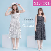 大碼仙杜拉-黑白點點收腰顯瘦背心連身裙/洋裝 XL-4XL碼 ❤【SUC056】(預購)