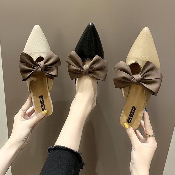 穆勒鞋 網紅拖鞋女夏外穿2021新款韓版百搭蝴蝶結高跟半拖粗跟尖頭穆勒鞋 小天使