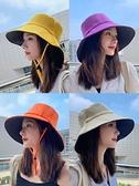 漁夫帽 夏季早春漁夫帽女春秋遮臉防曬紫外線遮陽帽子雙面大頭圍黑色女士 歐歐
