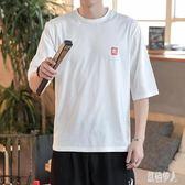 夏季中國風短袖t恤男復古五分袖體恤男士夏季半袖男裝打底衫韓版 PA3190『紅袖伊人』