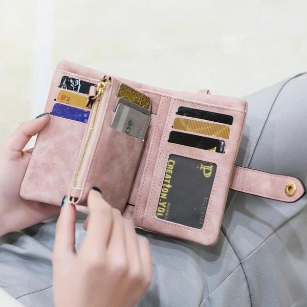 米印錢包女短款ins簡約 2019學生韓版可愛兩摺疊多功能零錢包  魔法鞋櫃