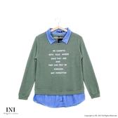 【INI】優美拼接、拼接牛仔面料層次上衣.綠色