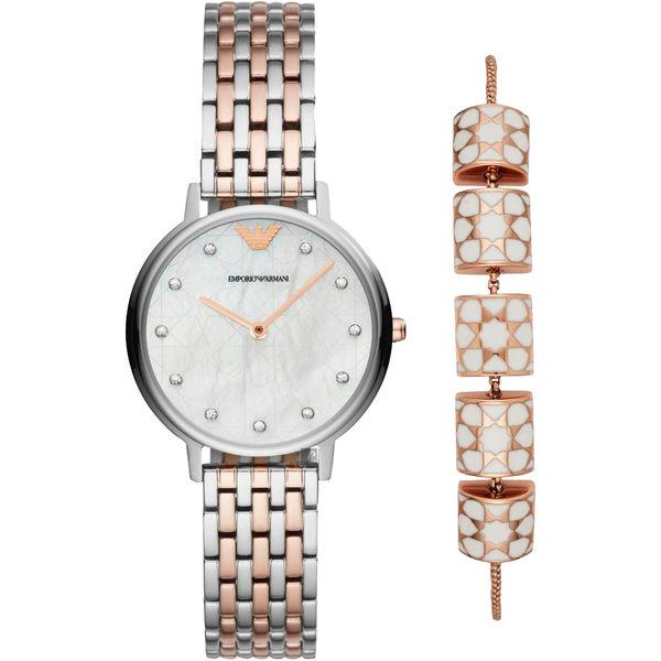 贈手鍊 Emporio Armani 流星許願晶鑽套錶組-珍珠貝x雙色/32mm AR80016