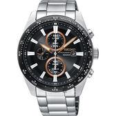 SEIKO Criteria 極速限定計時男錶-黑X玫瑰金圈