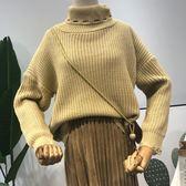 冬季款時尚潮流純色百搭簡約高領寬松針織毛衣女