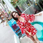 泳衣女三件套韓國溫泉小香風比基尼分體裙式遮肚胸聚攏性感衣 莫妮卡小屋