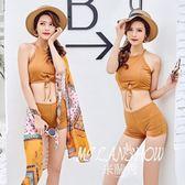 韓版比基尼分體三件套女平角性感露背韓國復古小香風溫泉泳裝