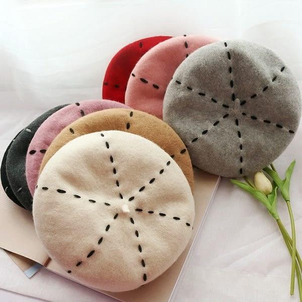 可調節羊毛貝雷帽子女士韓版百搭氣質畫家帽秋冬季保暖蓓蕾南瓜帽