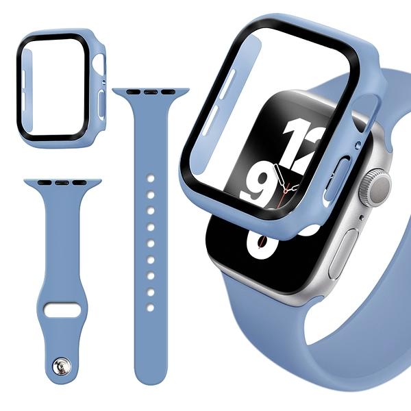 For Apple Watch Series SE/6/5/4 (40mm) 全包覆9H鋼化玻璃貼+錶殼+矽膠錶帶