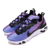 Nike React Element 55 PRM SU19 黑 藍 發泡材質中底 緩震回彈 男鞋 運動鞋【PUMP306】 BQ9241-002