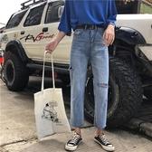 老爹褲破洞牛仔九分褲高腰寬鬆直筒褲女破洞