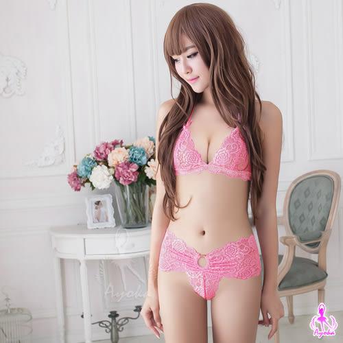 情趣用品 女性商品 緹花蕾絲性感比基尼內衣二件組+蕾絲丁字褲-粉色