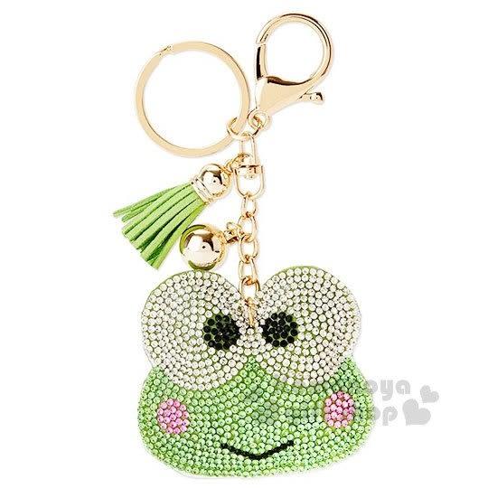 〔小禮堂〕大眼蛙 麂皮造型吊飾《綠.大臉.水鑽.流蘇》掛鉤.鑰匙圈 4991567-26248