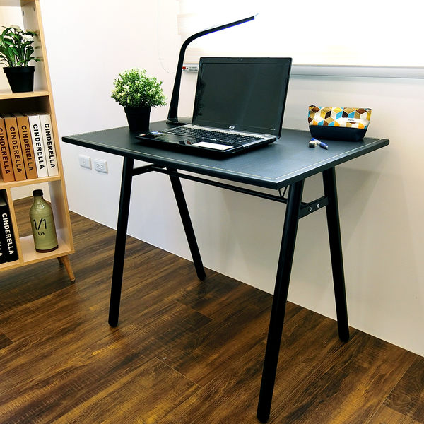 電腦桌 辦公桌 書桌【DCA010】環保粗管90公分仿馬鞍A型大桌面工作桌 Amos 台灣製造