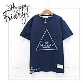 中大童 個性三角型休閒圖騰休閒短袖上衣 字母 男大童 上衣 大童 短T T恤 哎北比童裝