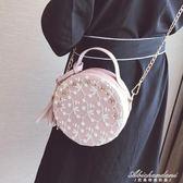 韓版迷你蕾絲花朵流蘇小圓包手提側背斜背女包  黛尼時尚精品