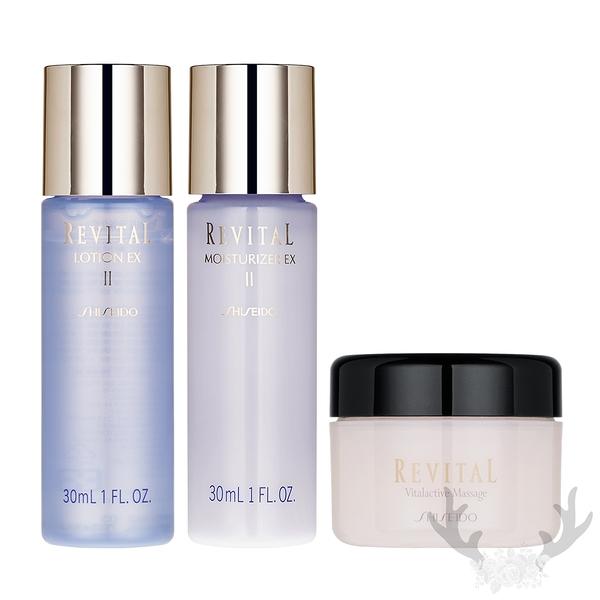 SHISEIDO資生堂 莉薇特麗全效化妝水EX II 30ml+全效乳液EX II 30ml+醒膚按摩霜20g 滋潤型