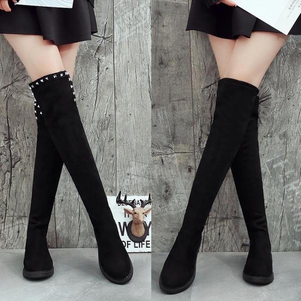 膝上靴春秋冬季韓版平底長筒靴女彈力靴顯瘦膝上靴平跟高筒百搭女靴子 童趣