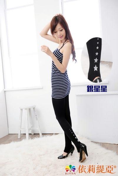【台灣製造】流行女襪-日系踩腳褲襪絲襪-黑色銀星【1217-1】