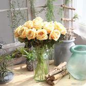 單支仿真玫瑰花假花套裝高檔客廳餐桌裝飾花干花花束擺件擺設花藝igo   莉卡嚴選