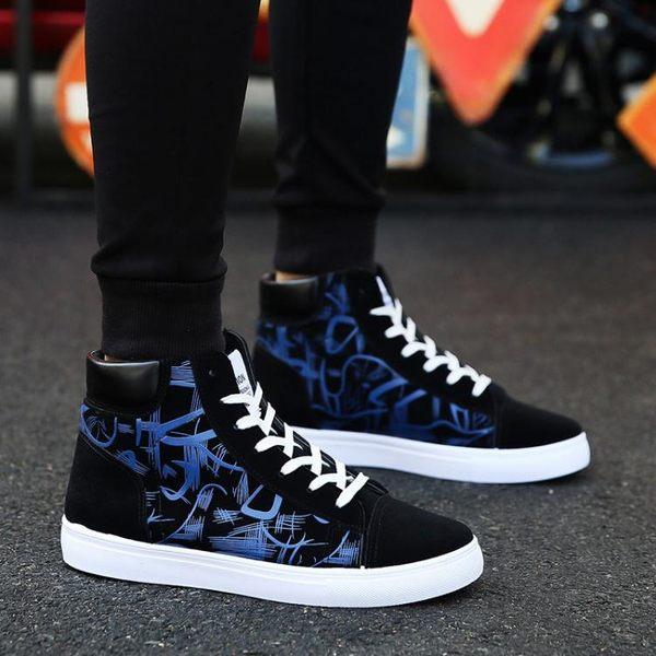 高筒鞋—新款秋季學生帆布潮鞋男士布鞋韓版潮流休閒板鞋百搭高筒男鞋 korea時尚記