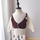 女童假兩件毛衣上衣女寶寶洋氣韓版背帶針織衫5歲兒童秋冬打底衫【小獅子】