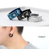 耳環 鋼製葉子刻紋寬版耳針ND612
