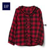 Gap女嬰幼童 格紋斜紋布荷葉邊襯衫 864433-大方格