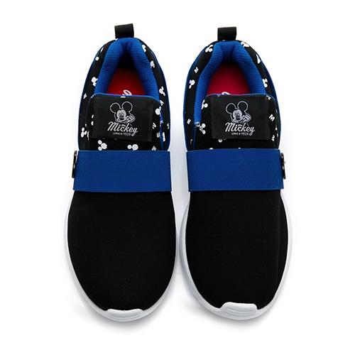 Disney 帥氣風格 米奇彈性繃帶休閒鞋-黑(23.5)