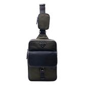 【台中米蘭站】全新品 PRADA 尼龍帆布直式斜背胸口包(2VZ047-軍綠)