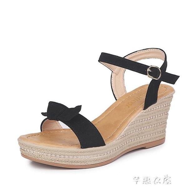 楔形鞋坡跟增高一字扣涼鞋女清涼一字型蝴蝶結絨面高跟外穿涼鞋 交換禮物