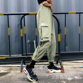 夏季女裝韓版原宿風寬鬆工裝字母刺繡口袋休閒褲高腰九分褲哈倫褲 艾莎嚴選