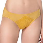思薇爾-花晨系列M-XL蕾絲低腰三角內褲(芥末黃)