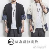 開衫男 大碼中國風男裝寬鬆七分袖男和服開衫亞麻外套男半袖襯衫   傑克型男館