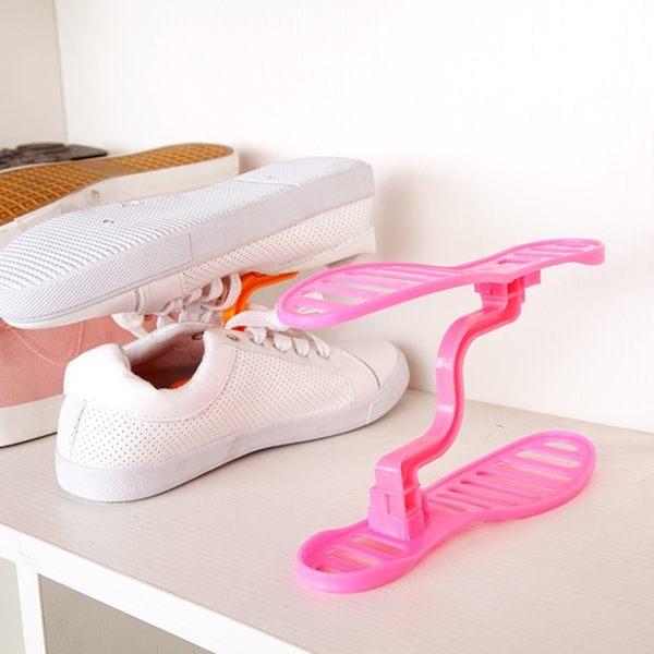 ♚MY COLOR♚創意立體式收納雙層鞋架 整理鞋架 日式鞋櫃收納架 整理鞋架 雙層鞋撐 鞋收納【S24】