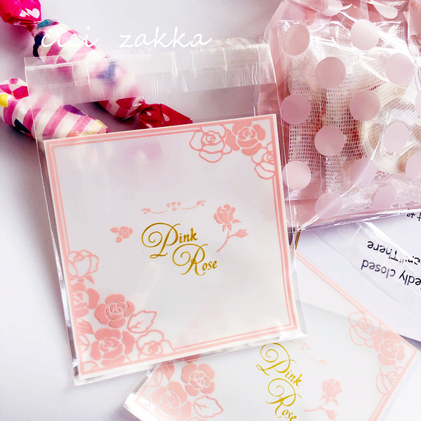 95入Pink Rose 食品級包裝袋 自黏袋 OPP袋 透明袋【D032】塑膠袋 餅乾袋 西點 飾品袋 封口袋
