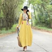 中國風棉麻提花復古繡花民族風楊麗萍長袖洋裝連身裙長裙年冬季洋裝 超值價