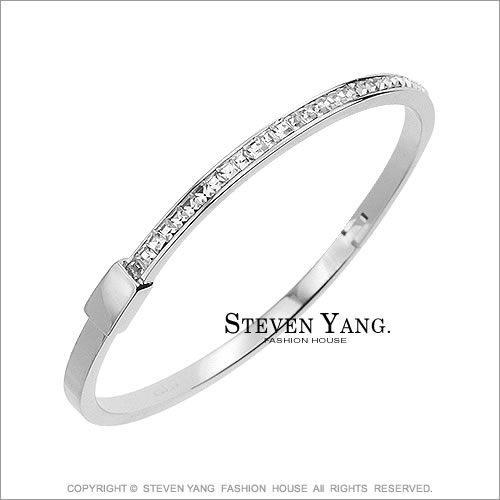 手環 正白K飾「超閃亮水晶鑽造型」細版