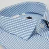 【金‧安德森】藍白格紋窄版短袖襯衫