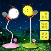 蜜蜂迷你小夜燈床頭嬰兒喂奶寶寶暖光護眼嬰幼兒小孩夜用卡通臺燈WY