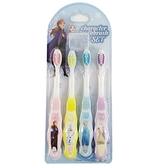 小禮堂 迪士尼 冰雪奇緣 造型柄兒童牙刷組 附牙刷蓋 學習牙刷 學童牙刷 (4入 藍 仰望) 4966840-25934