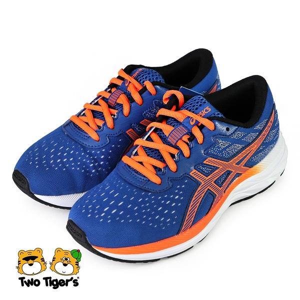 ASICS 亞瑟士 PRE EXCITE 7 GS 鞋帶款 大童鞋 藍橘 NO.R6115