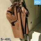 【V2674】shiny藍格子-冷冬陪伴.無釦大口袋毛呢中長款大衣外套