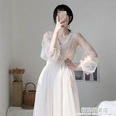 春裝2021年新款大碼女裝胖mm網紗裙子超仙森系蕾絲雪紡洋裝女夏 極簡雜貨