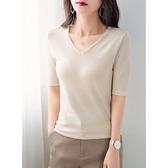 夏裝新款冰絲中袖杏色t恤女修身v領針織衫五分袖打底上衣薄 新年钜惠
