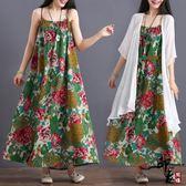 大尺碼女裝一字肩吊帶裙氣質印花民族風棉麻長款連身裙【印象閣樓】