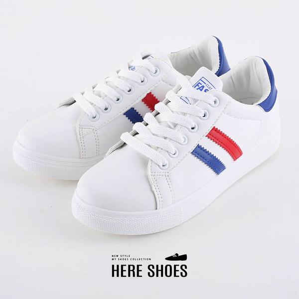 [Here Shoes]圓頭小白鞋綁帶韓版休閒板鞋平底鞋學生運動鞋休閒鞋─KWA082