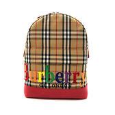 【台中米蘭站】全新品 BURBERRY 格紋帆布紅邊牛皮飾邊後背包 (4078517)