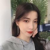 S925銀針 流蘇耳環女氣質長款超仙珍珠鑲鉆韓國時尚X字母耳釘B291 HOME 新品