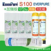 水蘋果居家淨水~快速到貨~Everpure 美國原廠平行輸入S100 濾心+EssenPure加強版前置濾心6支組(5u+樹脂)